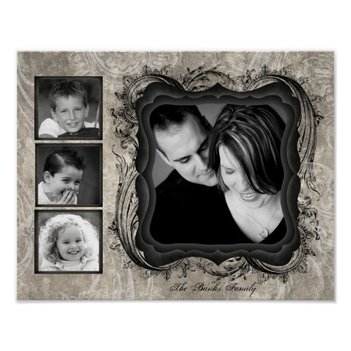 """11""""x14"""" 4 Slot Family Collage Montage Timeless Poster"""
