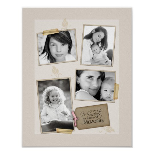 "11""x14"" 4 Slot Family Collage Montage Todays Momen Poster"