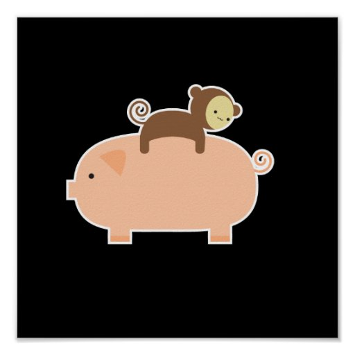 """11"""" x 11"""" Baby Monkey Riding on a Pig Poster"""