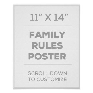 "11"" x 14"" Family Rules Poster"