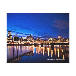 11 x 14 Portland Skyline at Night Gallery Wrapped Canvas
