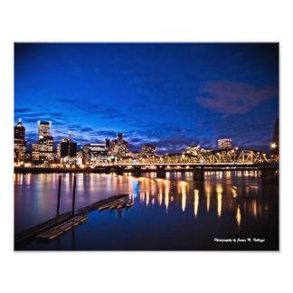 11 x 14 Portland Skyline at Night Art Photo