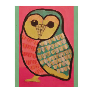 "11"" x 14"" Wood Wall Art with Colorful Owl"
