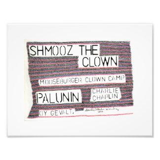 "11"" x 8.5"" photo paper w/Shmooz the Clown"