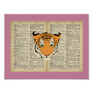 """11"""" x 8.5"""", Poster(Tiger and Text Vintage Designs) Poster"""