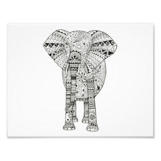 11 x 8.5 Unique Hand Illustrated Elephant Art Photo Print