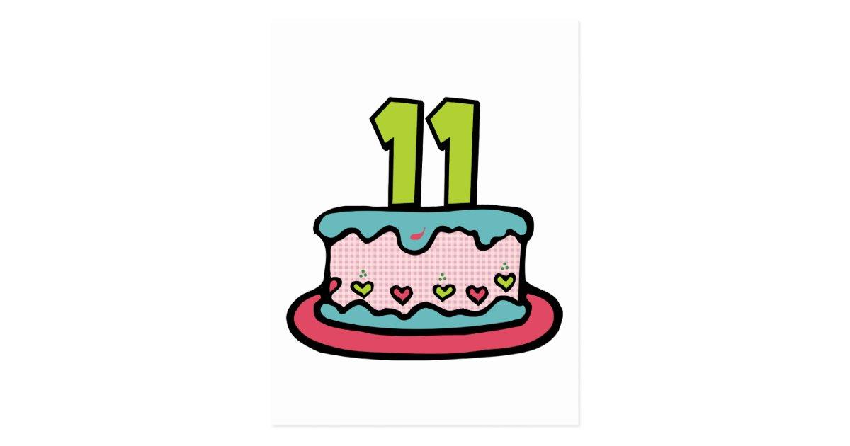 Peachy 11 Year Old Birthday Cake Postcard Zazzle Com Personalised Birthday Cards Veneteletsinfo