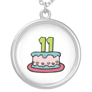 11 Year Old Birthday Cake Silver Plated Necklace
