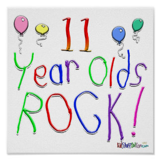 11 Year Olds Rock ! Print