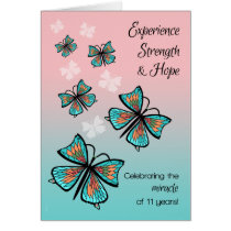 11 Year Recovery Birthday with Pretty Butterflies Card