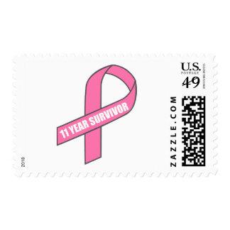 11 Year Survivor (Breast Cancer Pink Ribbon) Postage