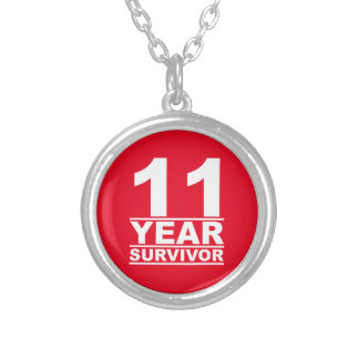 11 year survivor silver plated necklace