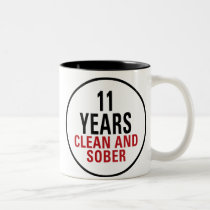 11 Years Clean and Sober Two-Tone Coffee Mug