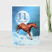 11 years old birthday card with spirit horse
