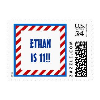 11h Birthday Custom Name RED STRIPES 11 Stamp