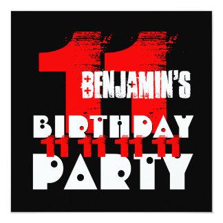 11ma fiesta de cumpleaños del NEGRO ROJO V02 11 Invitación 13,3 Cm X 13,3cm