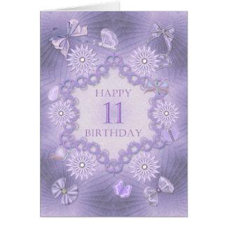 11ma tarjeta de cumpleaños con las flores de la
