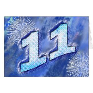 11ma tarjeta de cumpleaños con los fuegos artifici