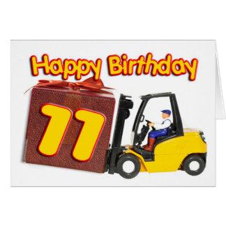 11ma tarjeta de cumpleaños con una carretilla elev