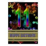 11mo Cumpleaños con las burbujas y los fuegos Felicitaciones