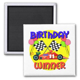 11mo Cumpleaños del coche de carreras del cumpleañ Imán Cuadrado