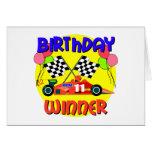 11mo Cumpleaños del coche de carreras del cumpleañ Tarjeton