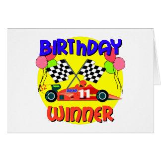11mo Cumpleaños del coche de carreras del Tarjeta De Felicitación