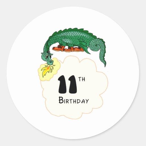 11mo Dragón del cumpleaños Etiquetas Redondas