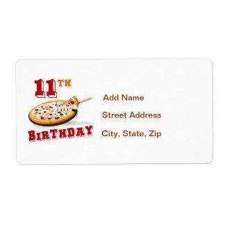 11mo Fiesta de la pizza del cumpleaños Etiqueta De Envío