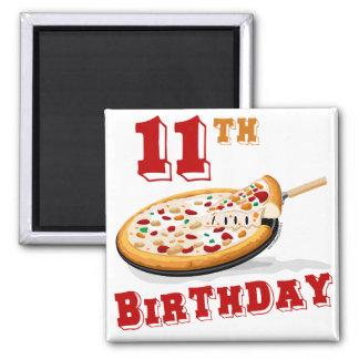 11mo Fiesta de la pizza del cumpleaños Imán Cuadrado