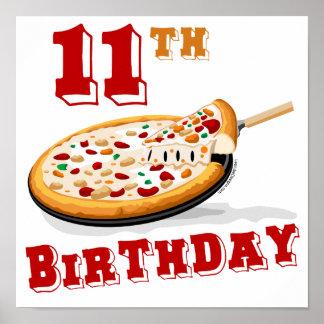 11mo Fiesta de la pizza del cumpleaños Póster