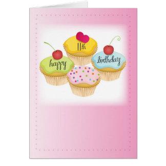 11mo Magdalenas del cumpleaños en rosa Tarjeton