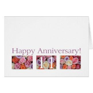 11mo Rosas del pastel de la tarjeta del aniversari