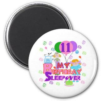 11mo Sleepover del cumpleaños Imán Redondo 5 Cm