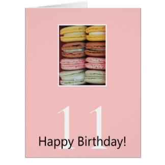 11mo Tarjeta de Macaron del cumpleaños