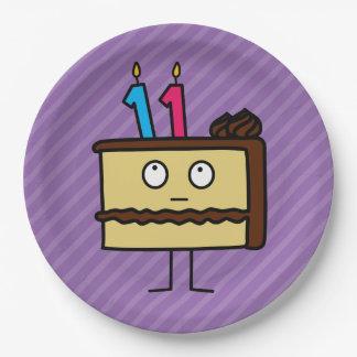 11mo Torta de cumpleaños con las velas Platos De Papel