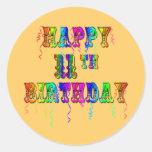 11mos pegatinas felices del globo del cumpleaños