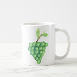 11oz Classic White Mug - Green Grapes Pastel Art
