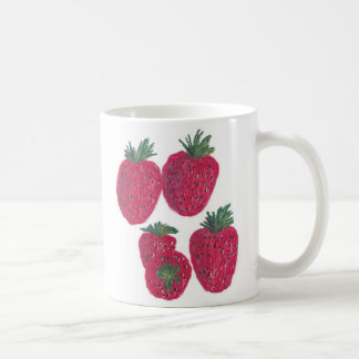 11oz Classic White Mug - Strawberries Pastel Art