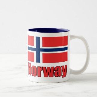 11oz dos entonan Noruega de la taza la bandera azu
