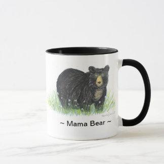 11oz  Mama Bear Black Bear white Mug black handle