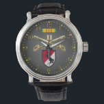 """11th ACR Crossed Sabers Ribbon &amp; Patch Watch<br><div class=""""desc"""">Features the photo-real brass Cavalry Crossed Sabers insignia,  Vietnam Sevice Ribbon,  and Blackhorse Patch on a dark gray gradient face with gold numbers.</div>"""