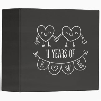 11th Anniversary Gift Chalk Hearts 3 Ring Binder