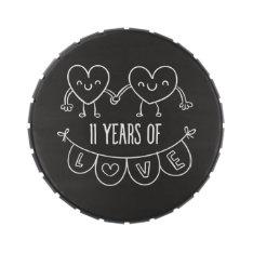 11th Anniversary Gift Chalk Hearts Jelly Belly Tin at Zazzle