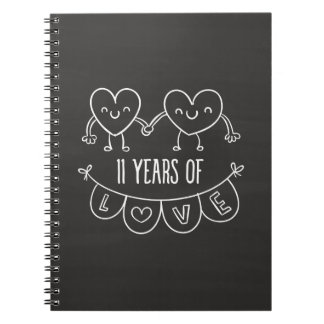 11th Anniversary Gift Chalk Hearts Notebook