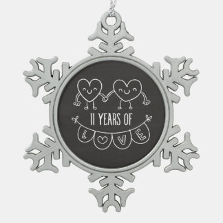 11th Anniversary Gift Chalk Hearts Snowflake Pewter Christmas Ornament