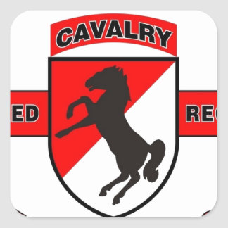 "11TH ARMORED CAVALRY REGIMENT ""BLACK HORSE CAV"" SQUARE STICKER"