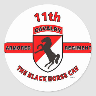 "11TH ARMORED CAVALRY REGIMENT ""BLACK HORSE CAV"" ROUND STICKERS"