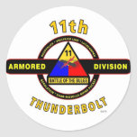 "11TH ARMORED DIVISION ""THUNDERBOLT"" CLASSIC ROUND STICKER"