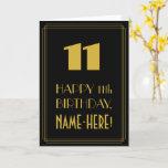 "[ Thumbnail: 11th Birthday – Art Deco Inspired Look ""11"" & Name Card ]"